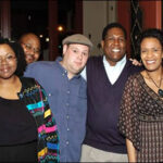 ©2003 SecureImagesByTim.com. Safari Speaks March 23rd event at the Safari Cup. From l. to r., Wordz & Rhythmz Founder, LaShanna R. Price, graphic designer and event DJ, Byronn J. Wilson, Award-winning Slam Poet, Lindsay Stone, ABC 33/40 Account Executive and event consultant, Andrew Wyatt, and Wordz & Rhythmz consultant, Kamala Burks.